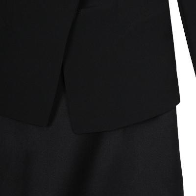 modern jacket black & wool straight skirt